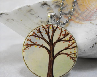 Hand Painted Pendant Autumn Tree Necklace with Chain - One of a Kind Original Wearable Art