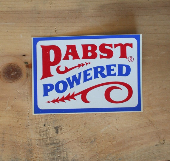 Vintage 70s PBR STICKER / Pabst Powered Beer