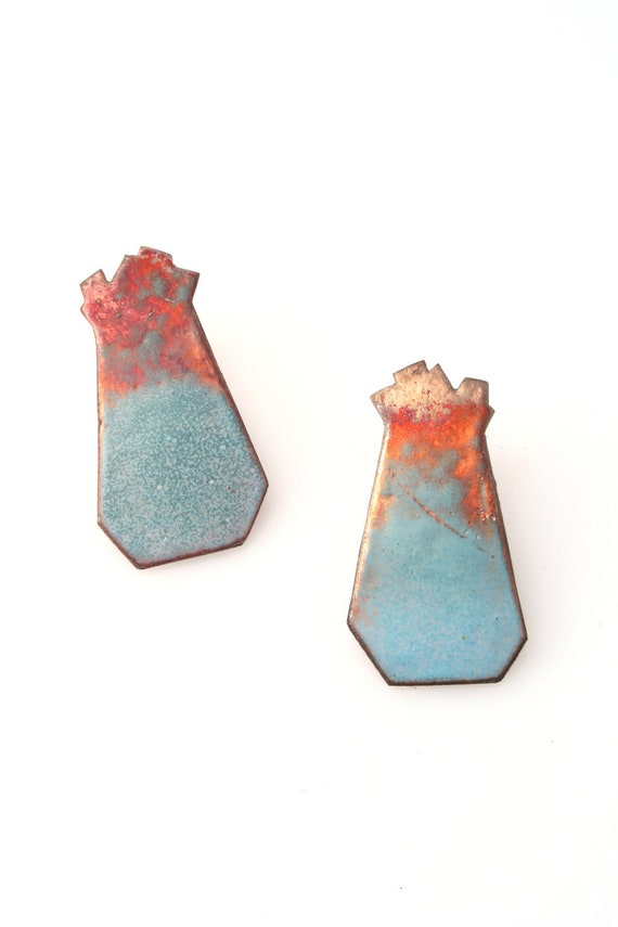 Large Blue and Bronze Faceted Enamel Post Earrings