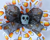 Halloween hair bow candy corn and skull kids hair bow halloween hair clip