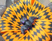 Halloween kids hair bow orange and black bow halloween bat kids hair bow kids bow hair clip