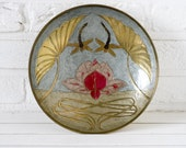 Art Nouveau Enameled Brass Bowl Dragonflies and Waterlily Design
