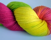 80's PARTY Hand painted sock yarn, superwash merino in brights, neons, pink, lime, highlighter yellow