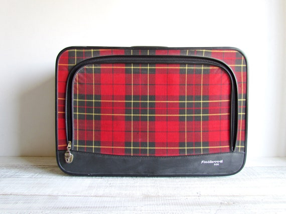 RESERVED FOR YOLI - Vintage Chic Red Plaid Luggage
