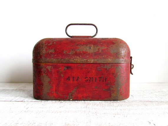 Vintage Industrial Rustic Red Metal Lunch Box