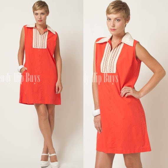 Vintage 60s MOD Red Ivory Nautical embroidered sleeveless  Dress - XL/1XL