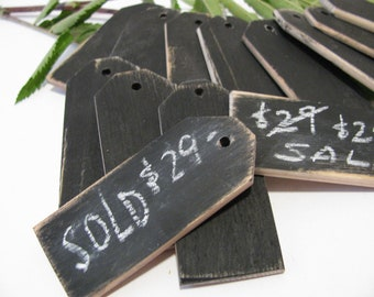 "48 Wood price tags Chalkboard finish Reusable 1 1/4""W x 3""L"