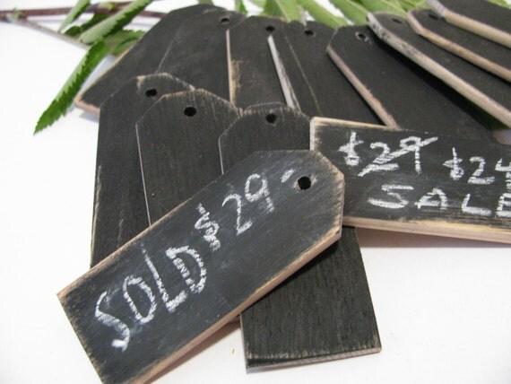 "48 Wood price tags Chalkboard finish Reusable 1 1/4""W x 3""L"