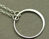 Simple Circle, Sterling Silver Necklace