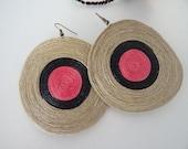 "3"" wide pink and black Earrings"