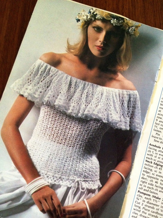 1970s Knitting/Crochet Clothing Pattern Booklet  Coats & Clark Camisoles, Vests, Tops