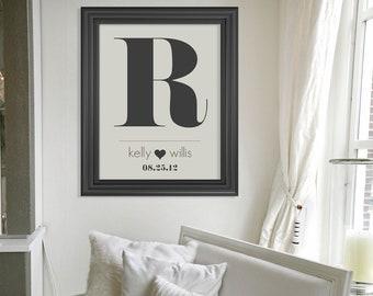 Custom Monogram Art Print  Wedding Present // Personalized Bridal Shower Gift // Custom Wedding Gift // Bridal Shower Gift
