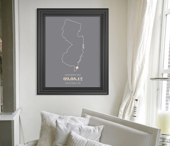 Personalized Bridal Shower Gift // Custom Wedding Present // New Jersey State Outline Print // Personalized Anniversary Gift