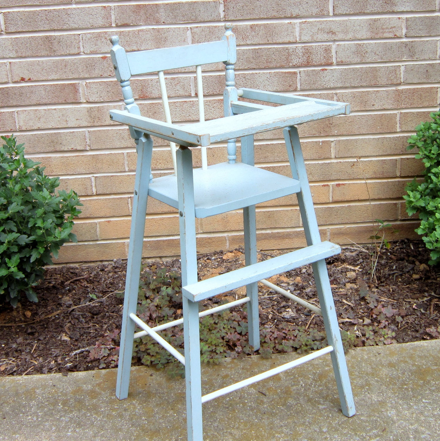 1950s Wooden Doll High Chair Shabby Chic Pale Blue Chippy