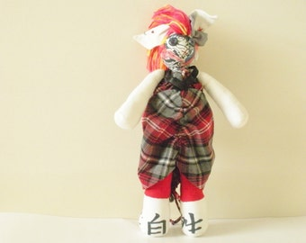 Doll with the Dragon Tattoo - Handmade Doll - Punk Rock Doll - OOAK Bunny Plush