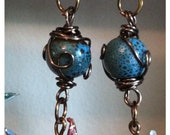 Wire wrapped Ceramic Glazed Bead and Origami Crane earrings
