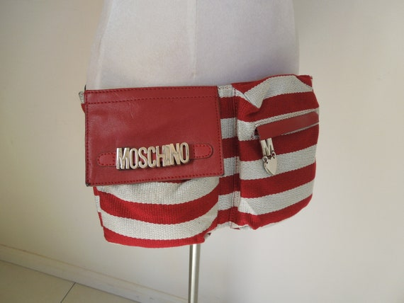 """Vintage """"Cheap And Chic by MOSCHINO""""  Rare Red & White Stripe Waist Bag"""