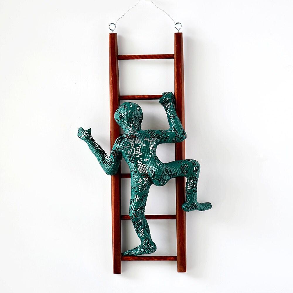 Metal Wall Art Climbing Man Sculpture On Wood Ladder Wire