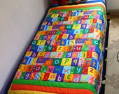 A B C quilt. Baby quilt. Back to School gift. Free shipping. Boy or girl quilt.