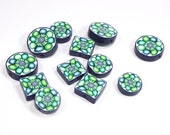 Green polymer Clay round and square beads, elegant flat beads in a variety of greens, blue and white, unique beads pattern, Set of 12