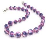 Purple, pink and blue elegant necklace, Polymer clay necklace, one of a kind necklace with triangle Miyukai beads.