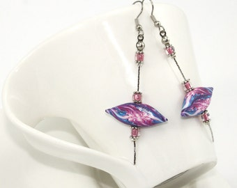 Pink and purple earrings, polymer clay elegant earrings, unique abstract pattern earings