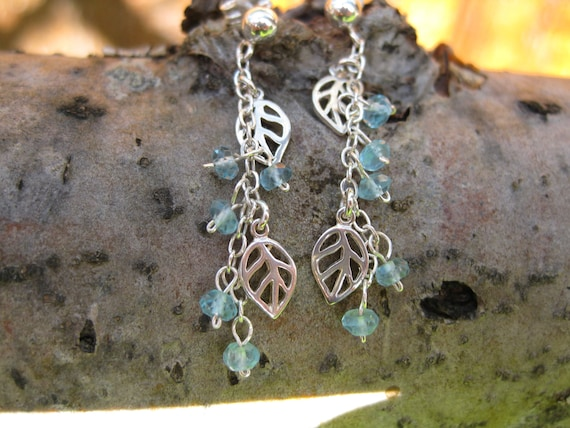 Silver leaf earrings, blue apatite gemstone and leaf cascade