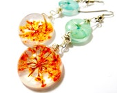 Flirty Wire Wrapped Dangle Earrings. Orange and Blue Flowers, Resin, Glass and Nature: Cali