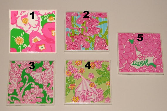 Set of 4 Lilly Pulitzer Ceramic Coasters