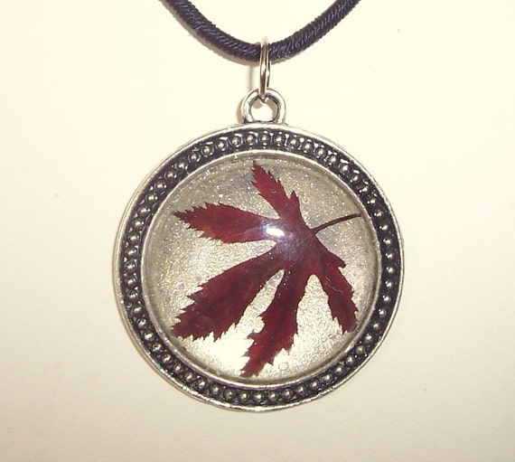 Real Pressed Red Japanese Maple Leaf Pendant