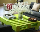 The Glorea. Custom (made to order) Lime Green Modern Coffee Table. Made of reclaimed pallet wood. Free Shipping.