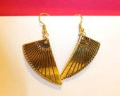 Handmade Gold Egyptian Shield Earrings