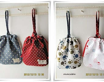 Reversible dog treat pouch bag drawstring bag with wristlet handle