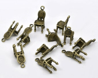5 Antique Bronze Chair Charm Pendant 22 x 10mm  - Pack of 5 CP12