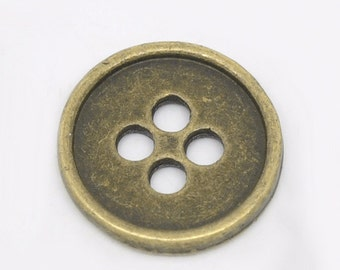 10 - Antique Bronze 4 Hole Buttons 13mm - Pack of 10 MB19