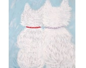Two Westies print - two Westie dogs together on a blue background. Professional Giclee print.