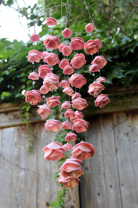 Items Similar To Baby Mobile Felt Flowers Glass Crystal