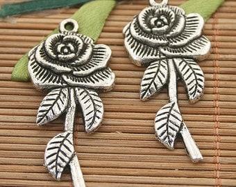 15pcs dark silver tone rose charms h3132