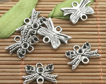 70pcs dark silver tone butterfly connectors h3210