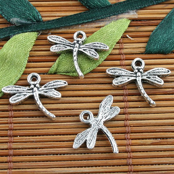 Silver Color Metal Jali Pattern : Alloy metal tibetan silver color dragonfly design charms