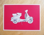 POSTCARD - 6x4.25 inches. Vespa - Pink