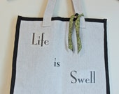 Life is Swell Drop Cloth Double Wine Bag