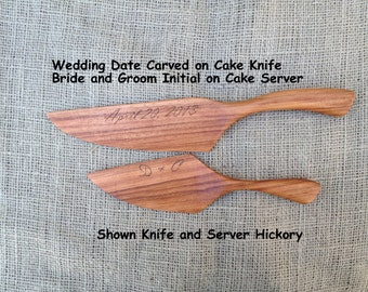 Hand Engraved or Carved Wedding date and initials, DOES NOT INCLUDE cutter & server