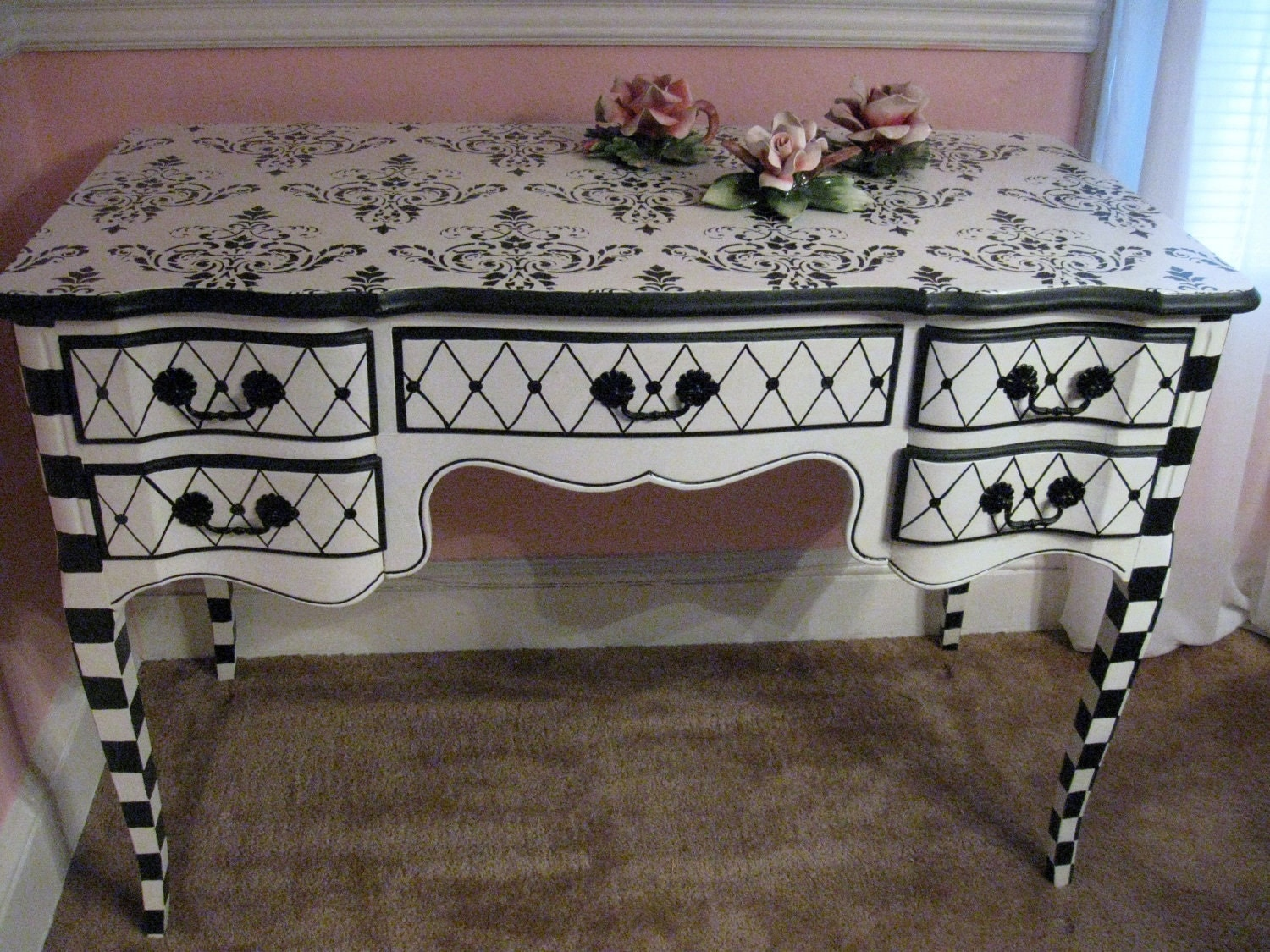 Black Amp White French Provincial Desk Vanity Totally Fab And