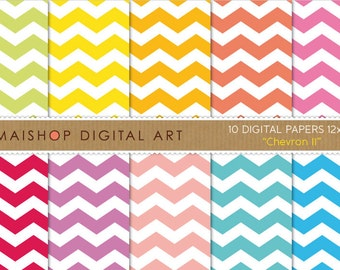 Digital Paper 'Chevron II' Green, Yellow, Orange, Red, Pink, Purple, Blue... Printable Papers for Scrapbook, Cards...