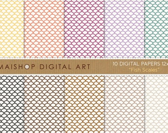 Digital Paper 'Fish Scales' Yellow, Orange, Purple, Lilac, Green, Black and Brown Scallop Pattern for Scrapbook, Printing, Invites...
