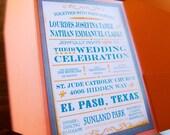 Wedding Invitations, Vintage Playbill Typography invitations, Rustic, Natural Orange Wedding Invitations