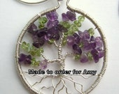 Wire wrapped gemstone Tree of Life pendant