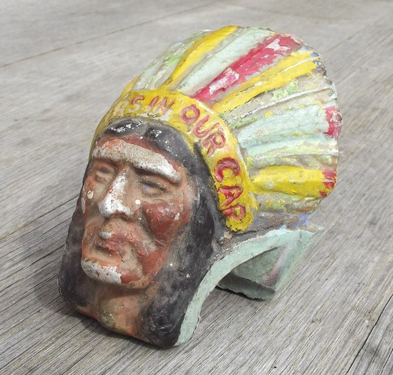 1930's Guy Motors Ltd., Wolverhampton, England, painted cast aluminium Southwestern/Native American Indian head automobile/truck mascot