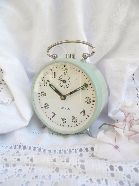 Vintage Pale Green Alarm clock in Working Order